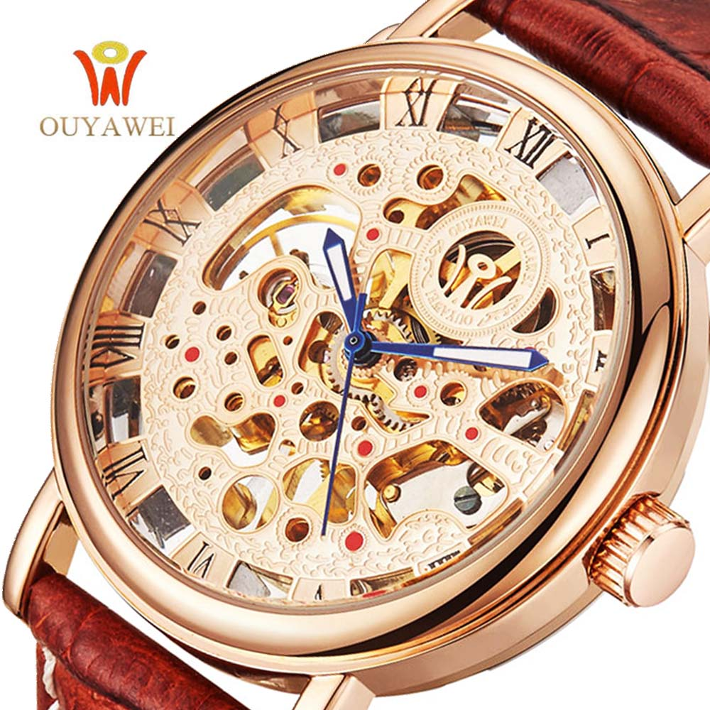 OUYAWEI Gold Skeleton Casual Mechanical Hand Wind Wrist watches