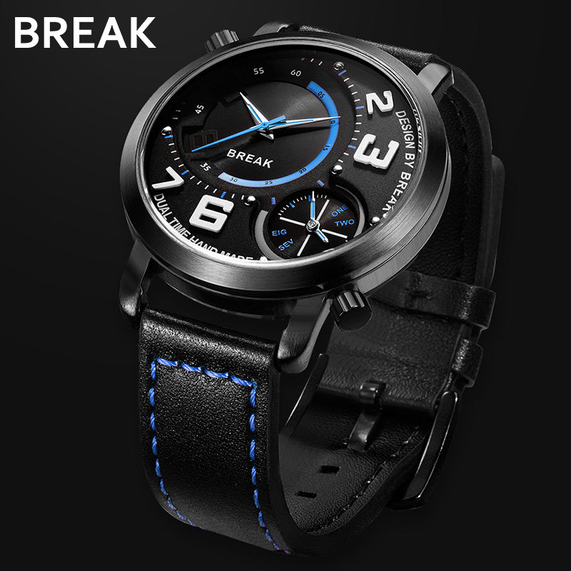 BREAK Men Black Leather Strap Classic Two Time Zone Wristwatches