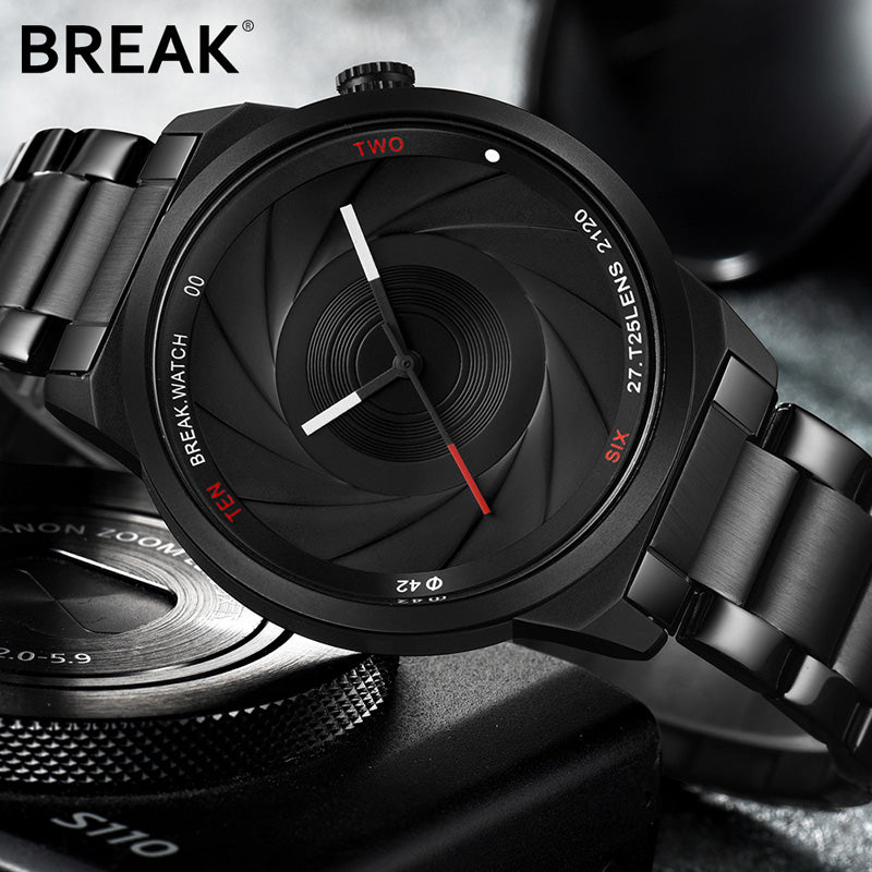 BREAK Photographer Series Unique Camera Style stainless Strap Men Wrist Watches