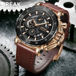 BREAK Chronograph Casual Watch Military Genuine Leather Watch