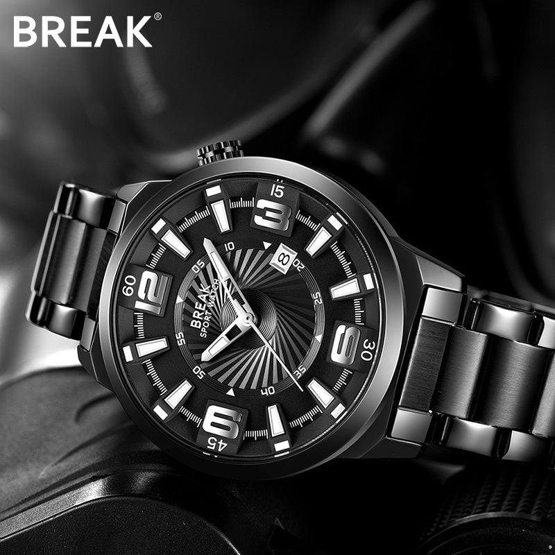 BREAK Men Stainless Steel Band Analog Sports Wristwatches