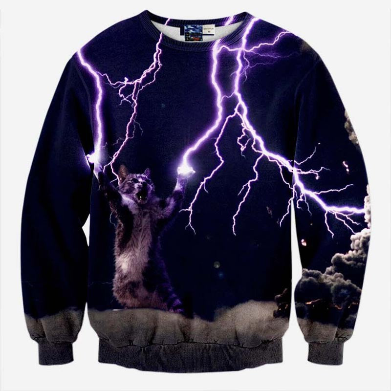 Lightning Kitten Black Sweatshirt