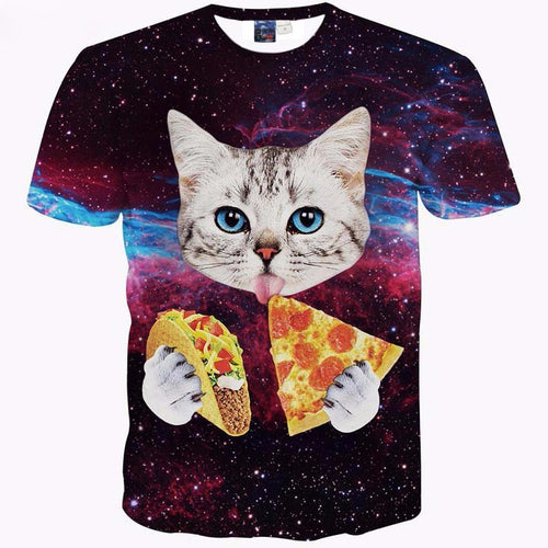 Galaxy Cat Eating Pizza T-Shirt