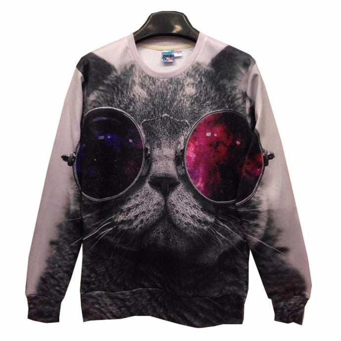 Red And Blue Glasses Cat Sweatshirt
