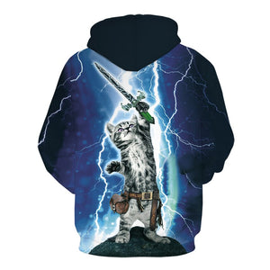 Lightning Kitty with Sword Hoodie