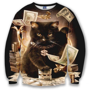 Money Hip Hop Black Cat Sweatshirt