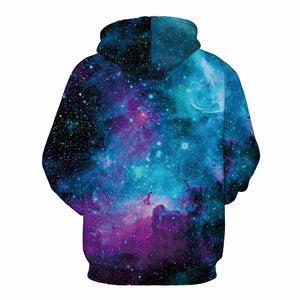 Colorful Pink and Blue Nebula Hoodie