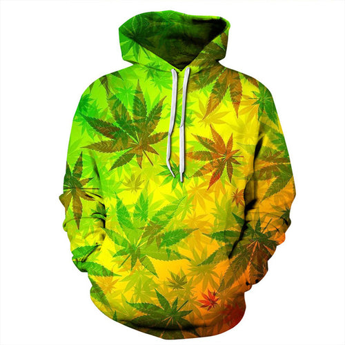 Colorful Weed Leaves Hoodie