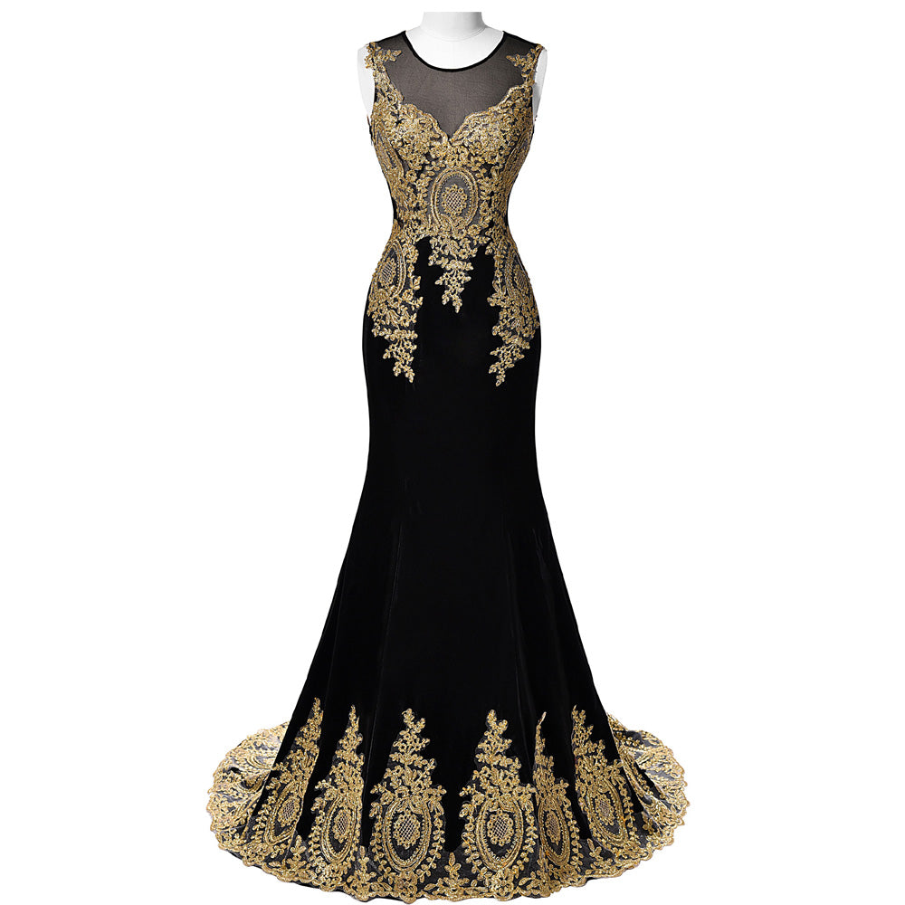 Chilazexpress New Long Gown Gold Embroidery Dress