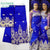 Indian African Royal Blue Lace Fabric With Blouse For Wedding