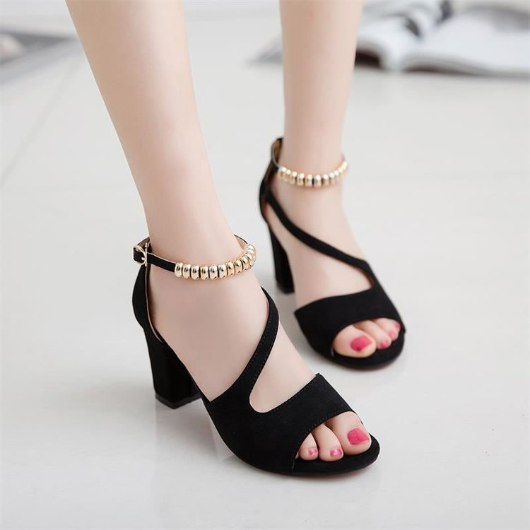Women Thick High Heels Sandals Fish Mouth Hollow Roman Buckle Sandal