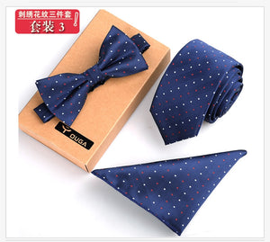 3 PCS Men Bow Tie and Handkerchief Set Bowtie Slim Necktie