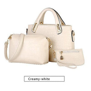 3 Pcs Women's Bags Set Elegant Solid Color Crocodile Stria Hand Bag