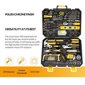 Hand Tool Kit with Plastic Toolbox Storage Case Socket Wrench Screwdriver