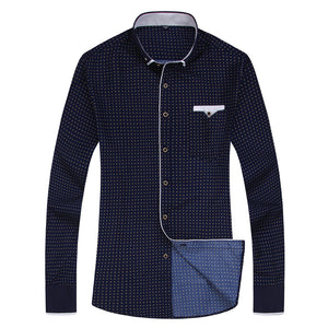 Men's Casual Slim-fit Long Sleeve Pocket Shirt