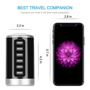 USB Charger, Universal 6-Port Desktop USB Hub/Charging Station Tower with Smart Identification Technology for Apple iOS, Andro