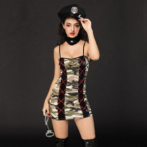 JSY army uniforms for erotic seduction porno army suit women night dress for sex sexy lingerie outfit include handcuff and hat