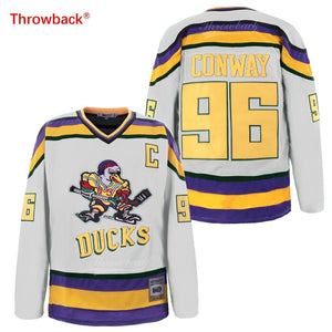 Throwback Jersey Men's mighty ducks Jersey Ice Hockey 96 Conway Jerseys Free Shipping Wholesale Colour White Green Black