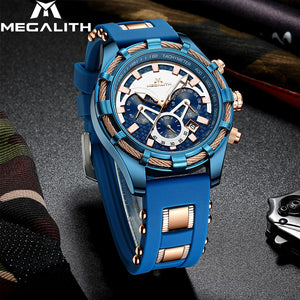 MEGALITH Fashion Luminous Displ Men Watches Top Brand Luxury Waterproof Sport Chronograph Quartz Wrist Watch Relogio Masculino