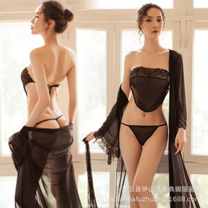 2019 New Sexy Lingerie Pajamas Seduction Suit Women's Long Night Dress Belly Pocket Elastic Net Yarn Sexy