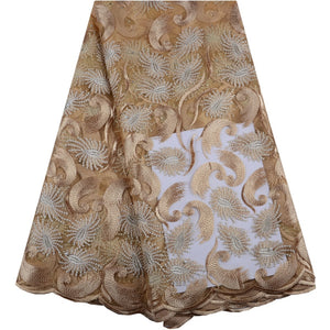 Indian George Lace Nigerian Gold Color Lace Fabrics For Party Dresses
