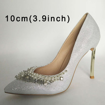 9011c7a51ae Super Metal Gold High Heels Pointed Toe Bridal Shoes For Ladies