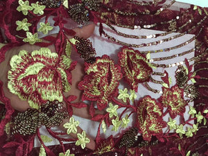 African Lace Fabric High Quality indian silk George lace fabric wine