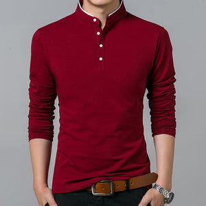 Men Cotton T Shirt Full Sleeve tshirt Men Solid Color T-shirts