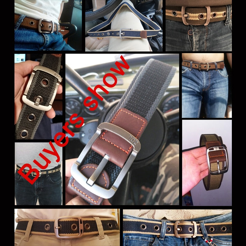 Military Belt Outdoor Tactical Belt Men Women Canvas And Leather Belts For Jeans