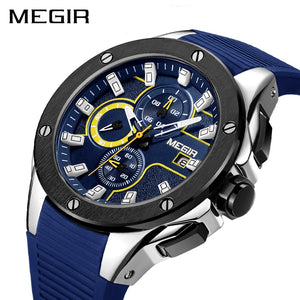 Men Sport Watch Chronograph Silicone Strap Army Military Watches