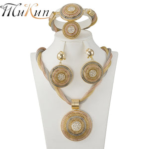 African Beads Jewelry Set Exquisite round Dubai Crystal Jewelry Set