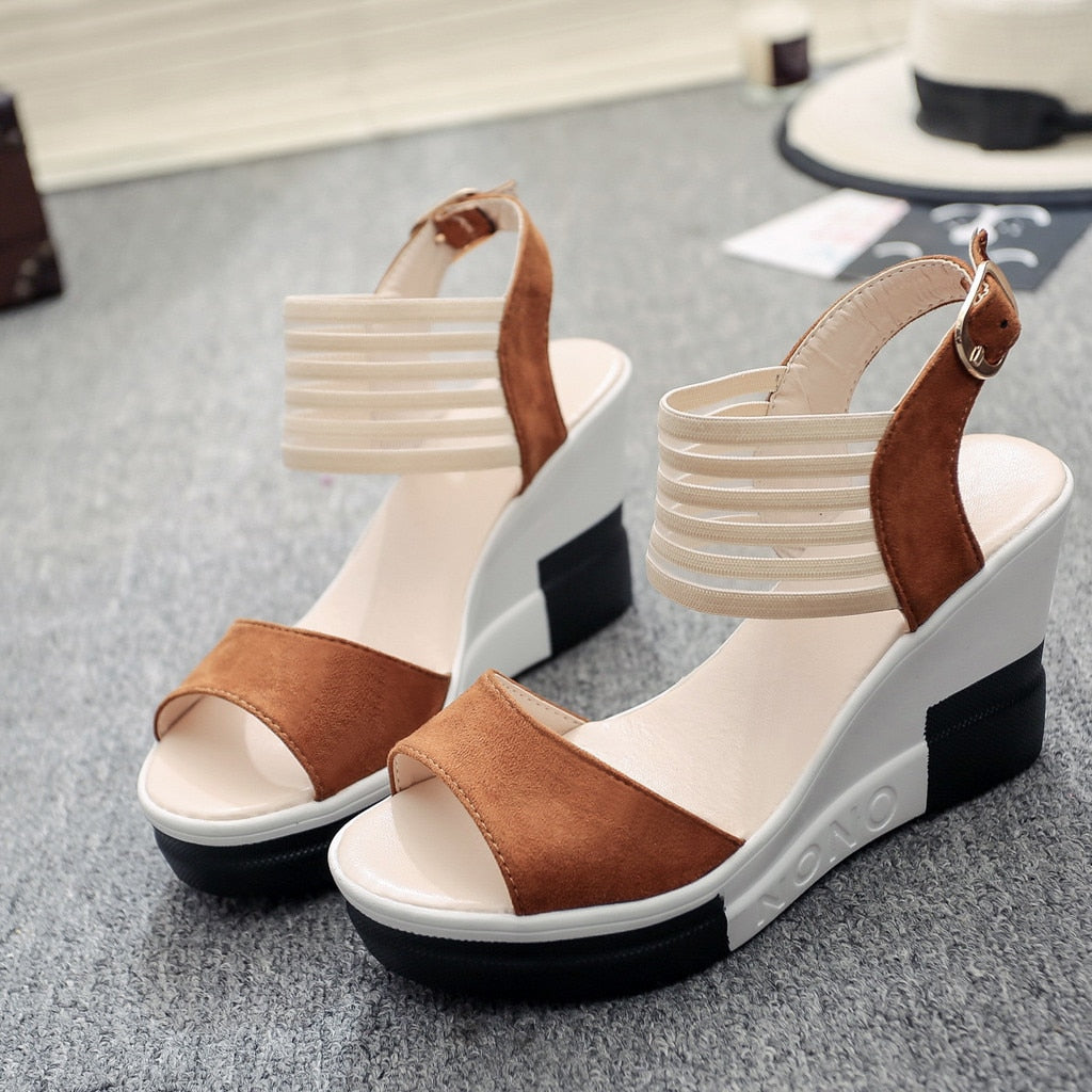 eb288e81ee7 Women Shoes Casual Belt Buckle High Heel Shoes Fish Mouth Sandals
