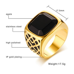 Men Black  Semi-Precious Stone Signet Ring in Gold for Male Jewelry