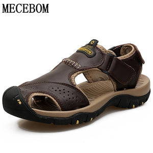 Men Summer Sandals Genuine Leather Casual Shoes Man Beach Sandals