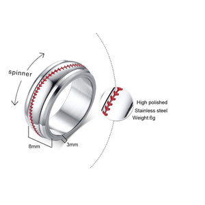 Men's Silver Tone Baseball Spinner Spinning Ring Red Stitching