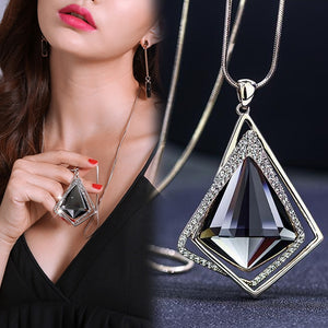 Long Necklaces Pendants for Women Maxi Fashion Crystal Jewelry
