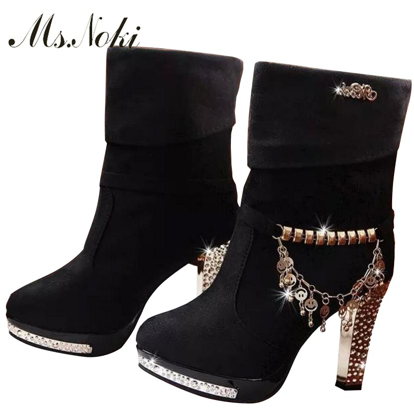Ms. Noki High Heels Shoes Fur Boots for