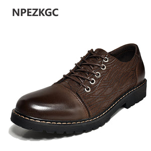 Top Luxury Men Shoes Casual Oxford Genuine Leather Shoes