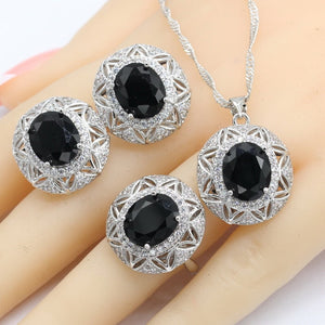 Jewelry Sets For Women Black Semi-precious Necklace Pendant Earrings