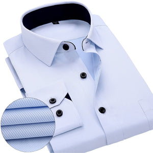 Mens work shirts Long sleeve square collar shirts white male tops