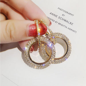 Jewelry high-grade elegant crystal round Gold earrings for woman