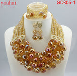 Nigerian Wedding Beads Jewery Set African Red Coral Beads Jewelry Set