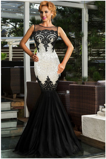 Chilazexpress Olrain Women s Sequins Applique Backless Maxi Evening Party  Ball Gown Prom Mermaid Dress 993a875800a9
