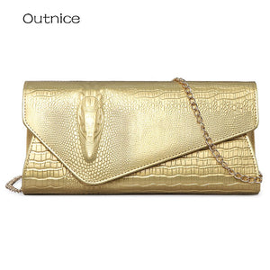Quality Ladies Clutch Shoulder Bag Women Gold Purse PU Leather