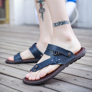 Summer Sandals Men Outdoor Breathable Slippers Leather Shoes