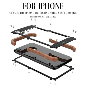 Phone Case For iPhone XS Max Original R-Just Wood Bumper Metal Case For iPhone XS XR Aluminum Frame Phone Cases Accessories