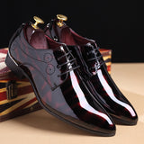 Leather Shoes Red Black Dress Wedding Shoes Men's Flats