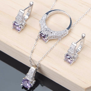 Zirconia Jewelry Sets Wedding Silver Jewelry Bracelet Ring