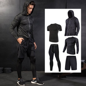 Men Compression Running Suits Breathable Basketball Training