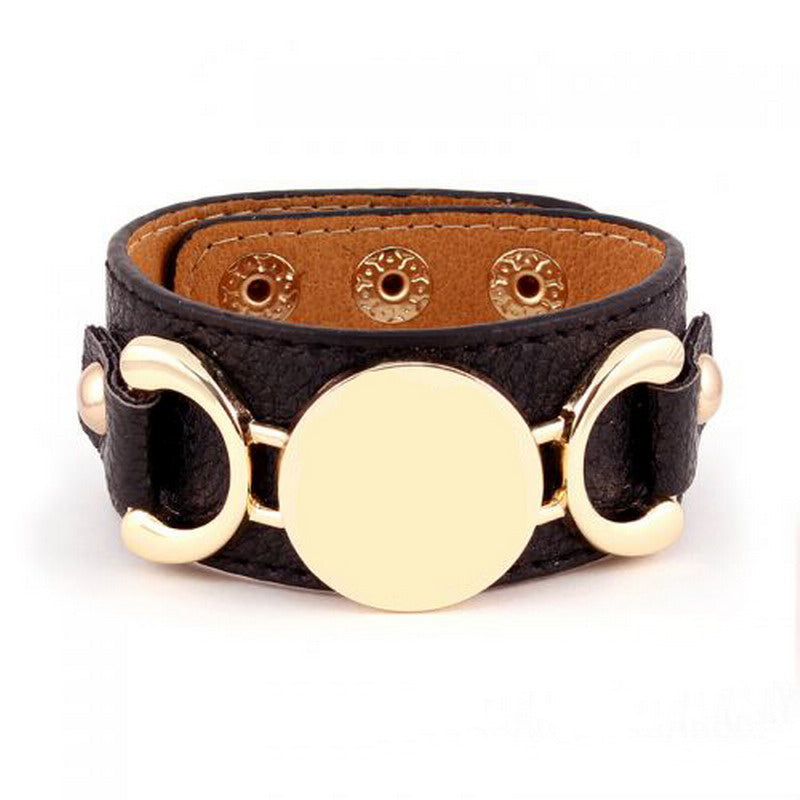 Leather Cuff Bracelet 3 Row Gold Color Multicolor  Bracelet For Men